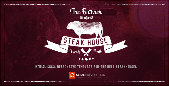The Butcher – One Page HTML Template for Steak Houses (Food) Download
