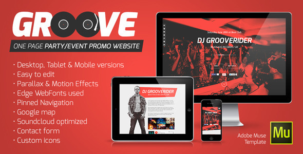 Groove - OnePage Party / Event Promo Muse Template