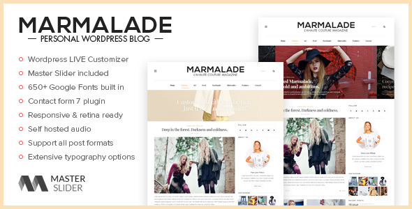 The Marmalade – Personal WordPress Blog Theme (Personal) Download