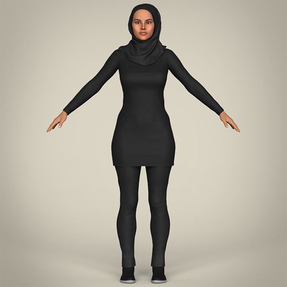 Realistic Islamic Woman - 3DOcean Item for Sale