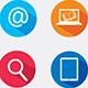 Color Media Design Elements for Web. Flat Icons.