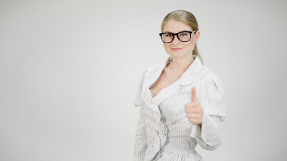 Businesswoman Shows Thumb Up Sign