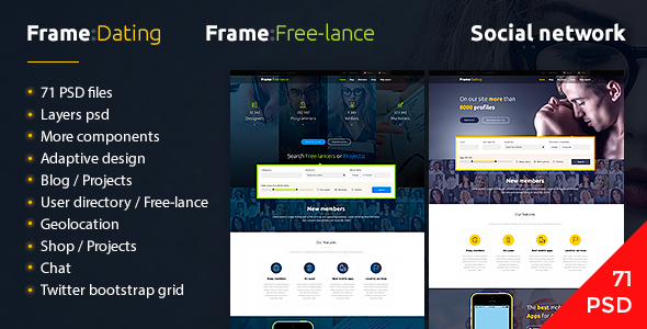 Frame Dating - Social Dating Network PSD