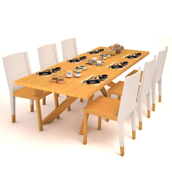 3DOcean Dining table set 12055971