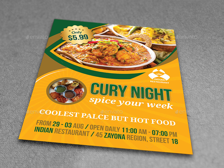 Restaurant Flyers Templates. Indian Restaurant Flyer Template By