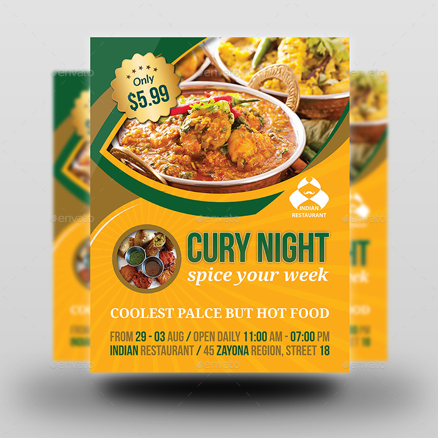 Indian Restaurant Flyer Template by OWPictures – Restaurant Flyers Templates