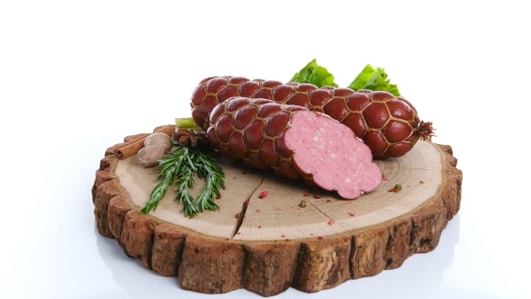 Fresh Salami Sausage Isolated On White Background