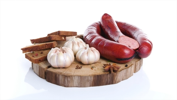 Meat Delicacies On Kitchen Board Isolated White