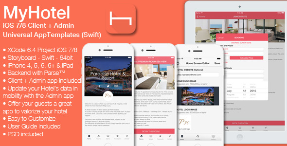 CodeCanyon MyHotel iOS7 8 Hotel&Admin App Template Swift 12058086