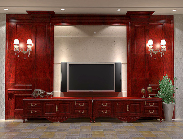 Chinese style livingWall, TV wall - 3DOcean Item for Sale