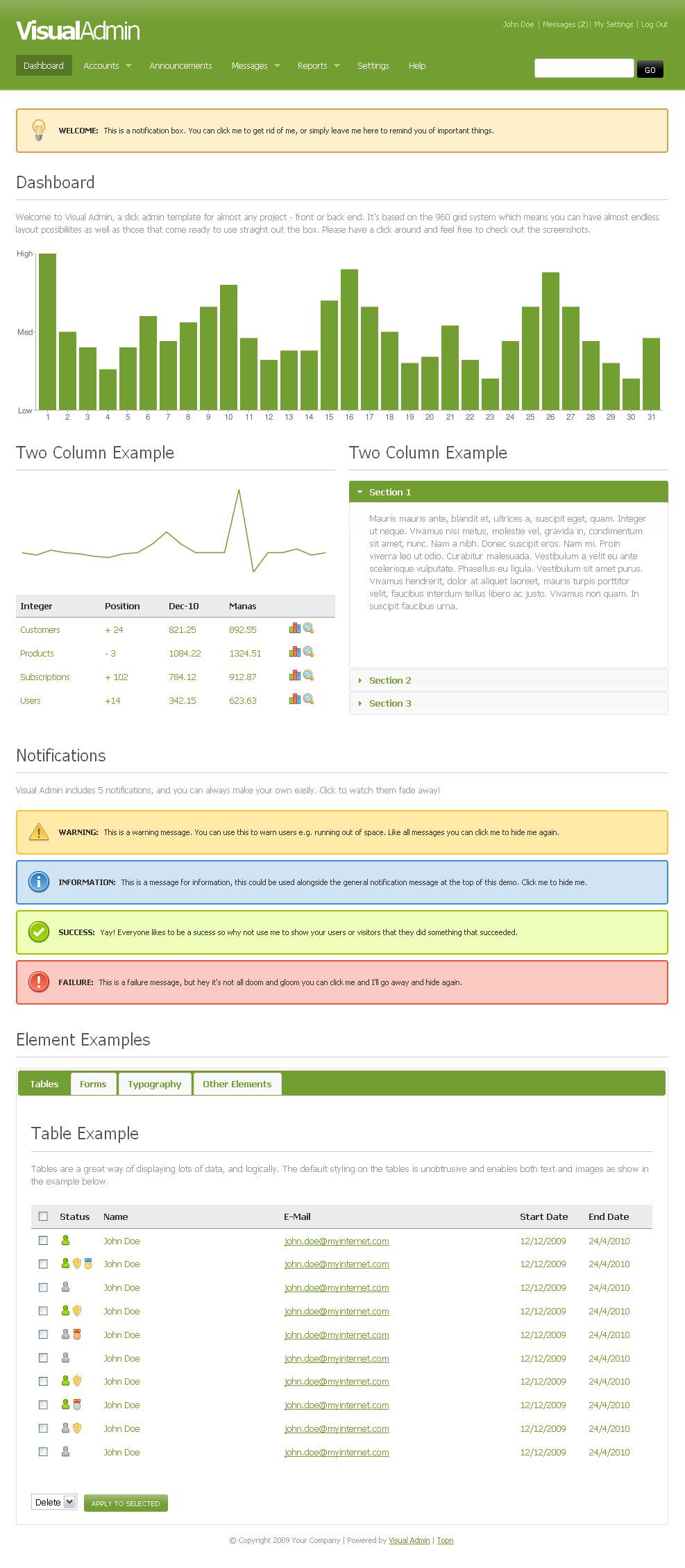 Visual Admin - Green Theme