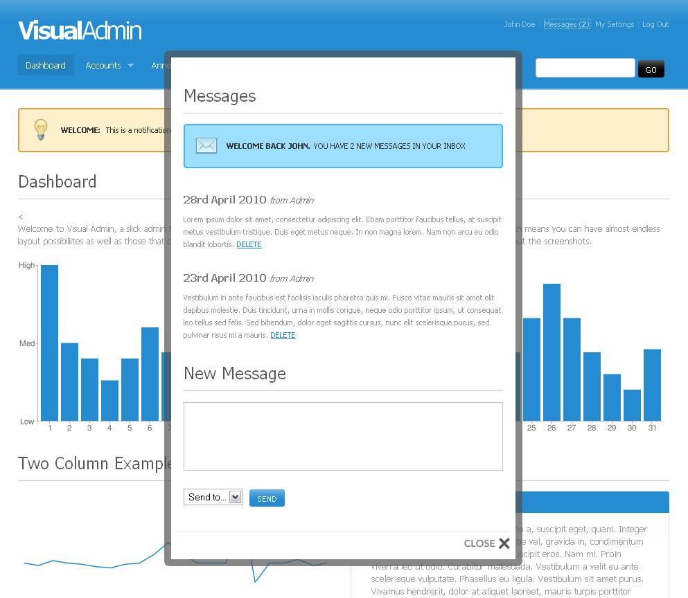 Visual Admin - Facebox Modal Dialog Box