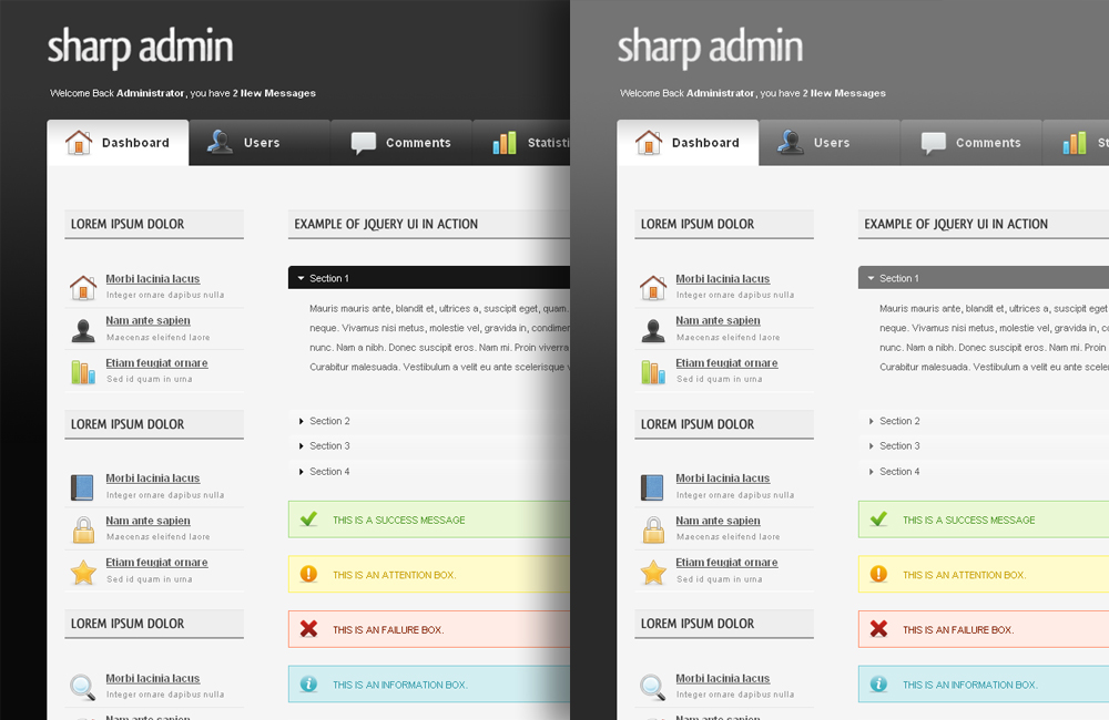 Sharp Admin Template - Black (default) and Grey Themes.