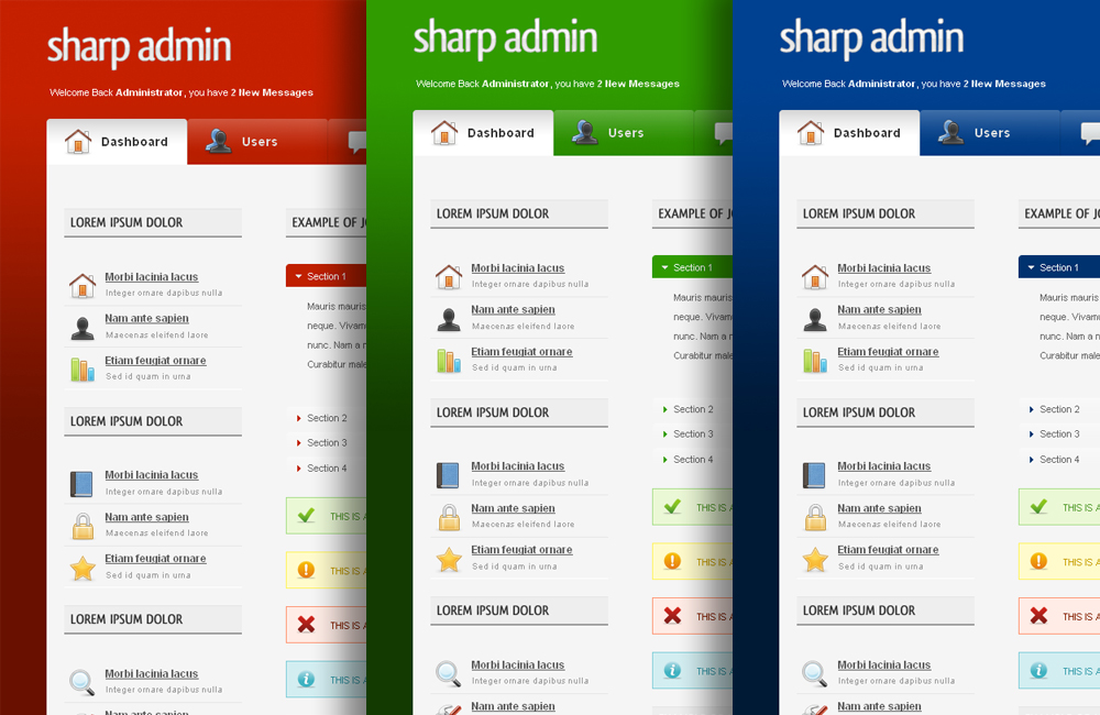 Sharp Admin Template - Red, Green and Blue Themes.