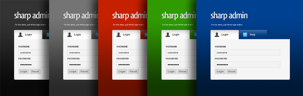 Sharp Admin Template - All 5 Themes come with a seperate login page.