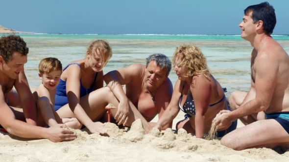 Big Family On The Beach