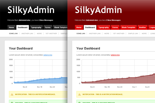 Silky Admin - Black (Default) Theme and Red Theme