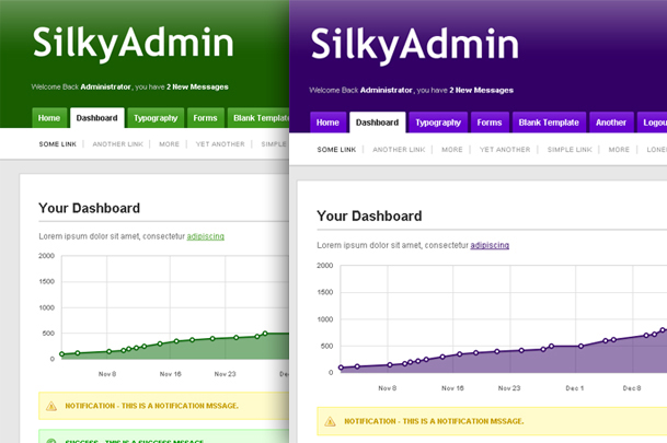 Silky Admin - Green and Purple Themes