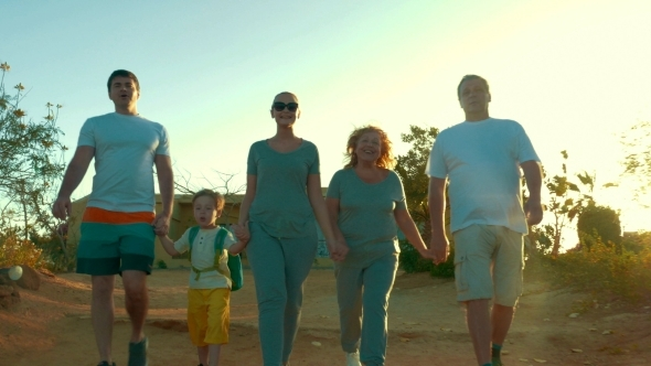 Big Family Going Hiking On Vacation
