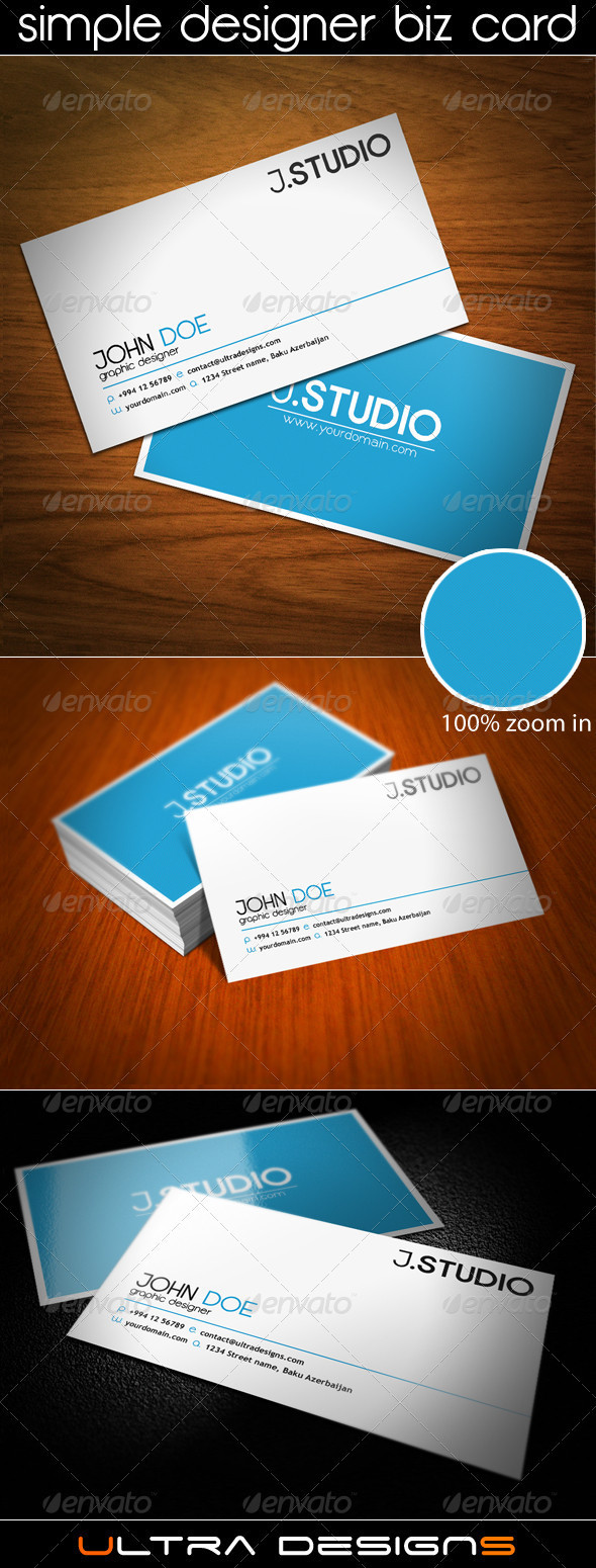 GraphicRiver Simple Designer Business Card 1208634
