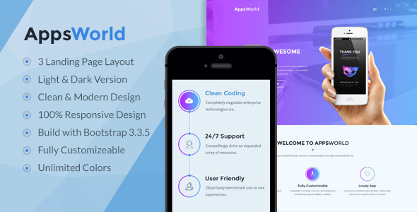 AppsWorld – Responsive App Landing Page Theme (Marketing) Download