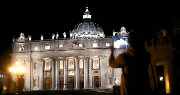 Woman Using Tablet PC To Capture St Peters