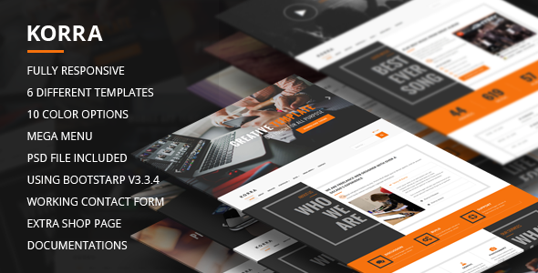 Korra – Clean and Modern Bootstrap Template (Corporate) Download