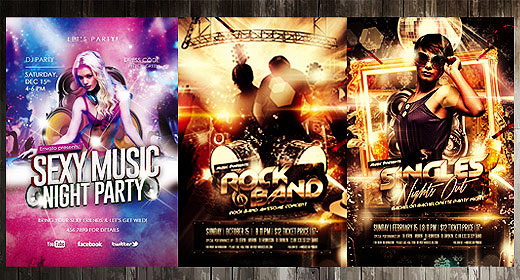 Night Club DJ and Music Flyer