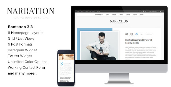 Narration – A Responsive HTML5 Blog Template (Creative) Download