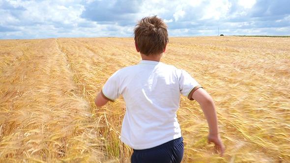 Boy Running Through Wheat