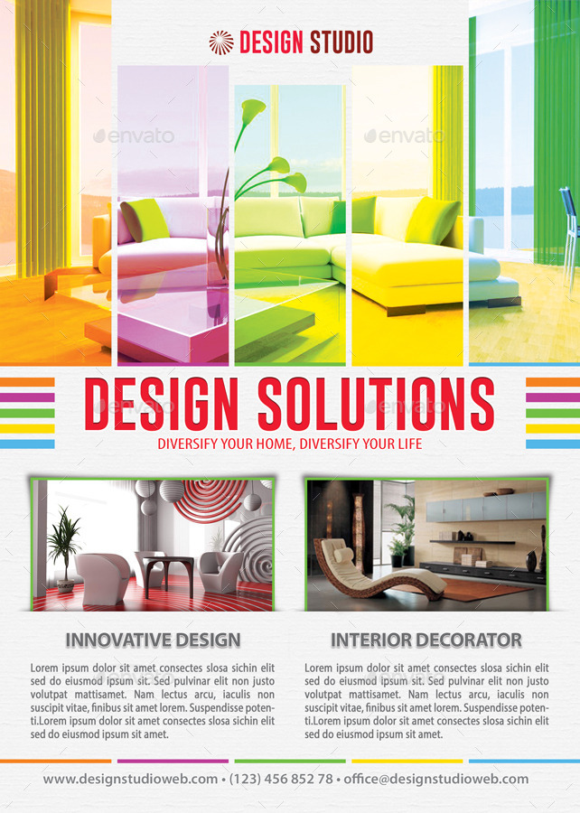 interior design solution flyer template 102 by 21min