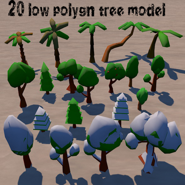 3DOcean LowPolygon Tree Pack 12087159