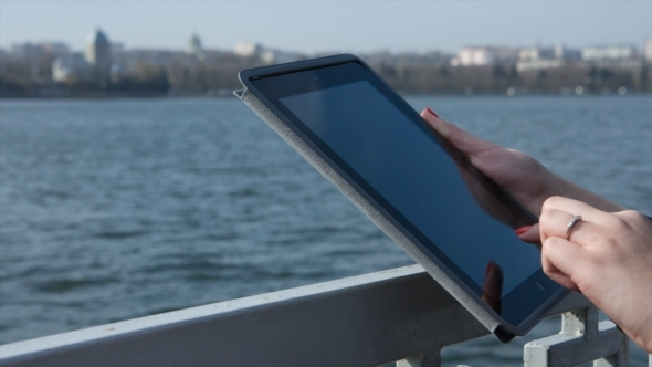 Hands And Tablet PC