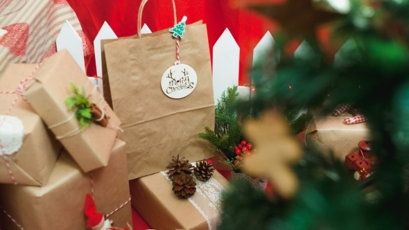 Merry Christmas Composition Of The Gifts