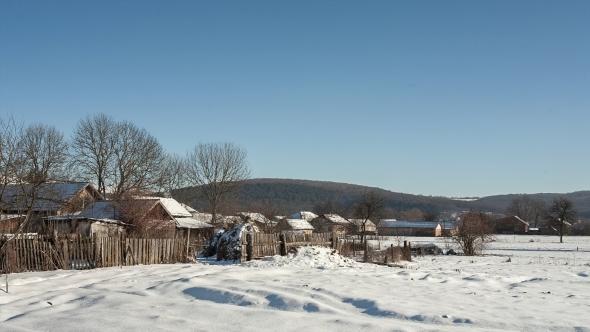 Sunny Winter Day In The Ukrainian Village