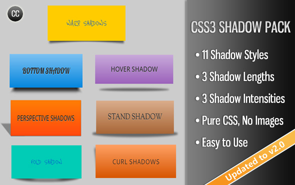 1VM SIIiIDVII Aac STAND SHADOW CSS3 SHADOW PACK Shadow Styles lengths Shadow Intensities Pure CSS, Images