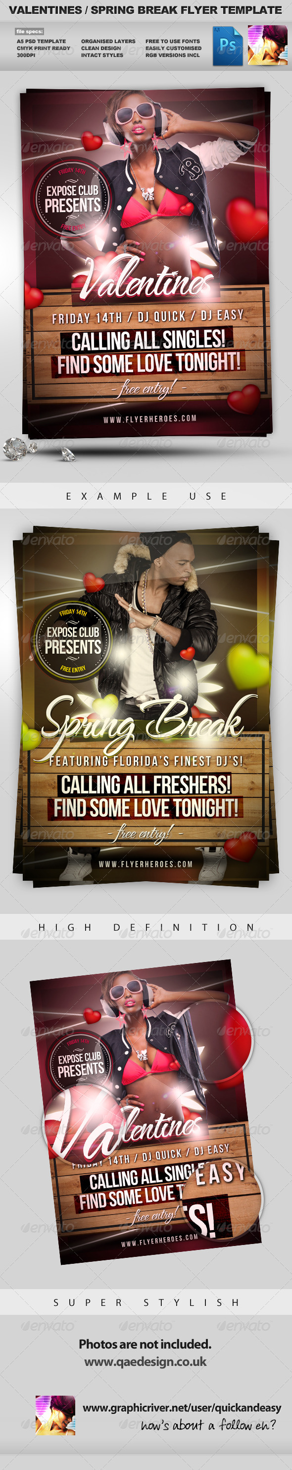 Valentines / Spring Break Flyer Template - Clubs & Parties Events