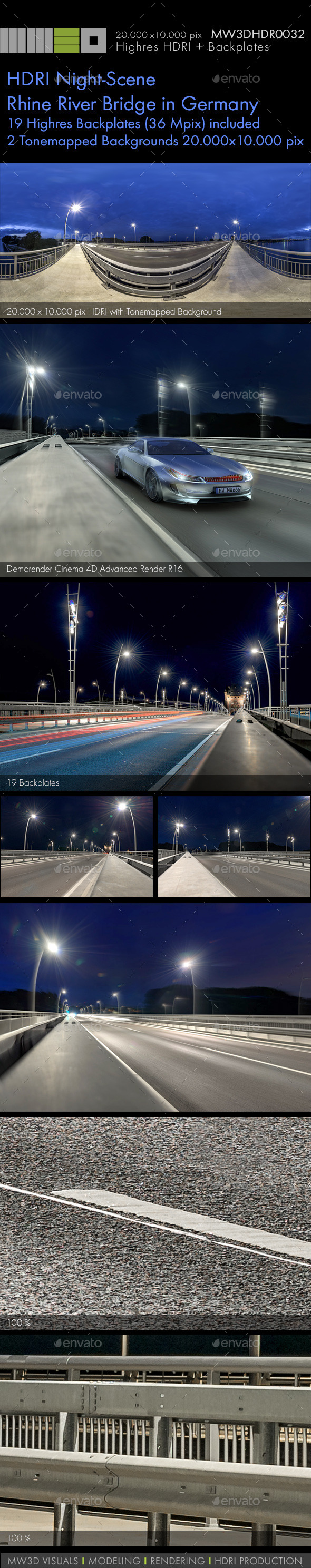 3DOcean MW3DHDR0032 HDRI Night-Scene Rhine River Bridge 12091810