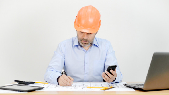 Smartphone for Working on Blueprint