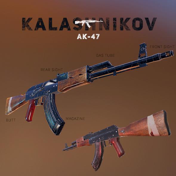 3DOcean AK-47 Kalashnikov PBR Low-Poly Game Ready 12097751