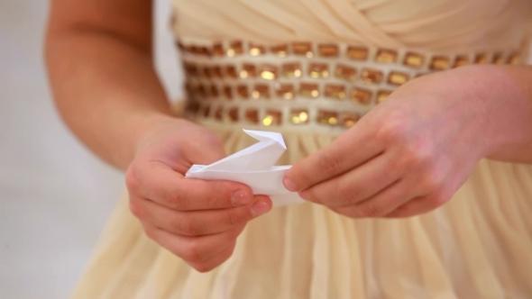 Hands Girls Doing Origami Crane