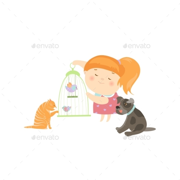 Cute Girl Surrounded By Different Types Of Pets