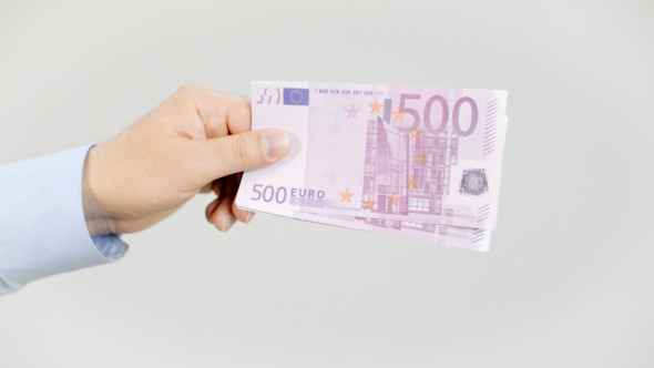 Showing Euro in Hands