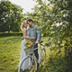 Loving couple with a bicycle