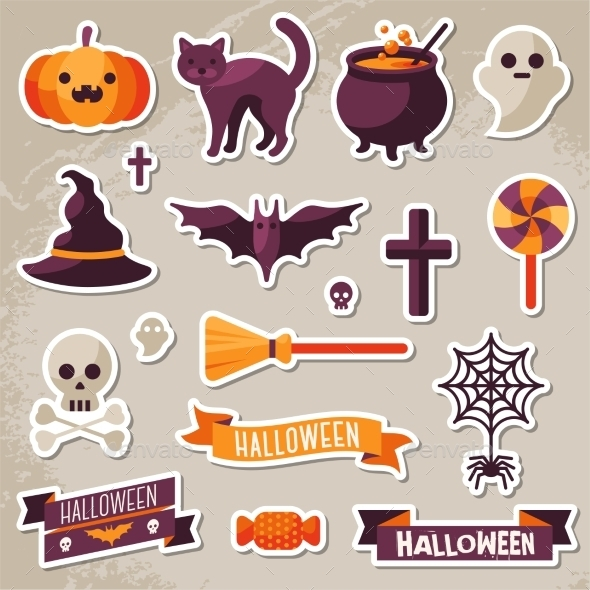 Set of Halloween Ribbons and Characters Stickers