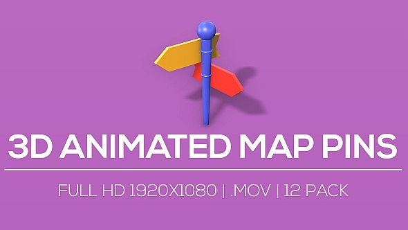 3D Animated Map Pins V2 12 Pack