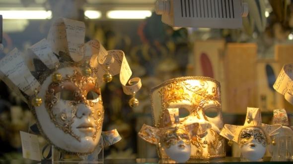 Handmade Masks For Venetian Carnival In Glass Shop