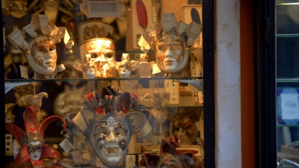 Venetian Masks In Glass Show-window
