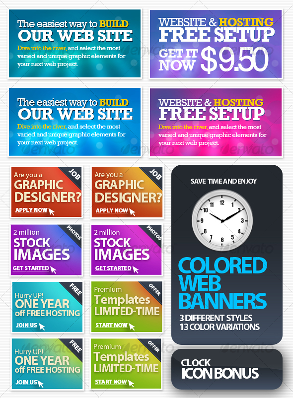 Colored Web Banners - Web Elements