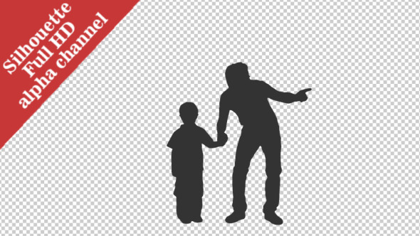 Silhouette of little boy standing with his father